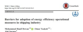 Barriers for adoption of energy efficiency operational measures in shipping industry